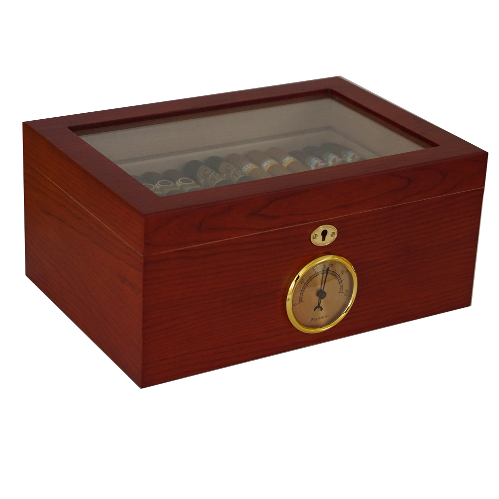 The Tempered  - Cigar Humidor - Holds 100 Cigars - Rich Rosewood Exterior