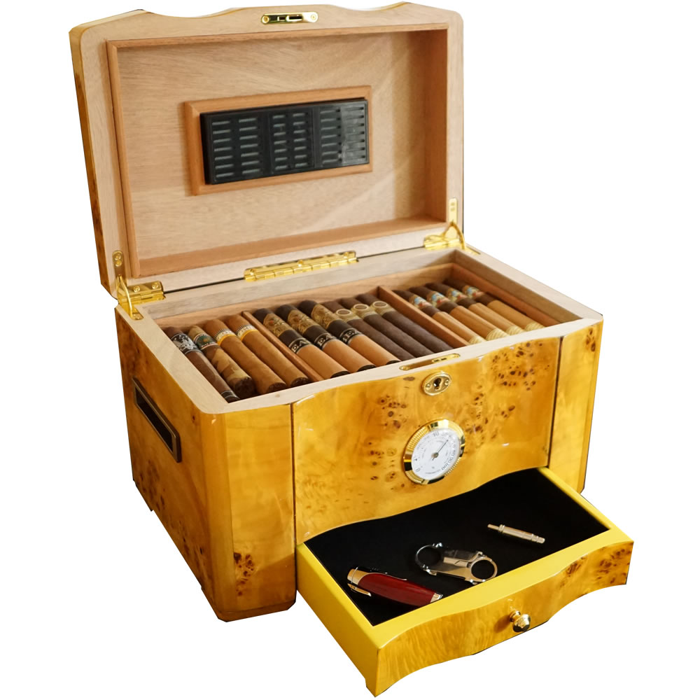 The Golden - Cigar Humidor - 120 Cigar Capacity - High Piano Gloss Birdseye