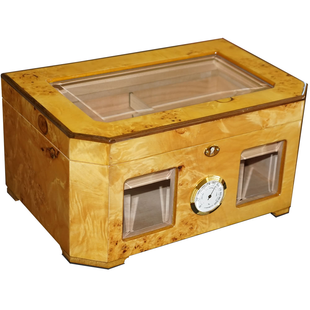 The Capitol - Cigar Humidor - Birdseye Maple Burl - Beveled Glass Top