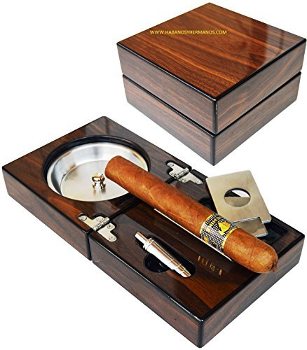 The Compact Cigar Ashtray with Cigar Cutter and Punch Walnut