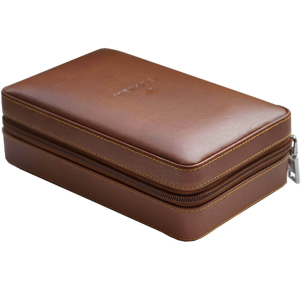 Leather Travel Case with Cutter and Lighter - 4 Cigars