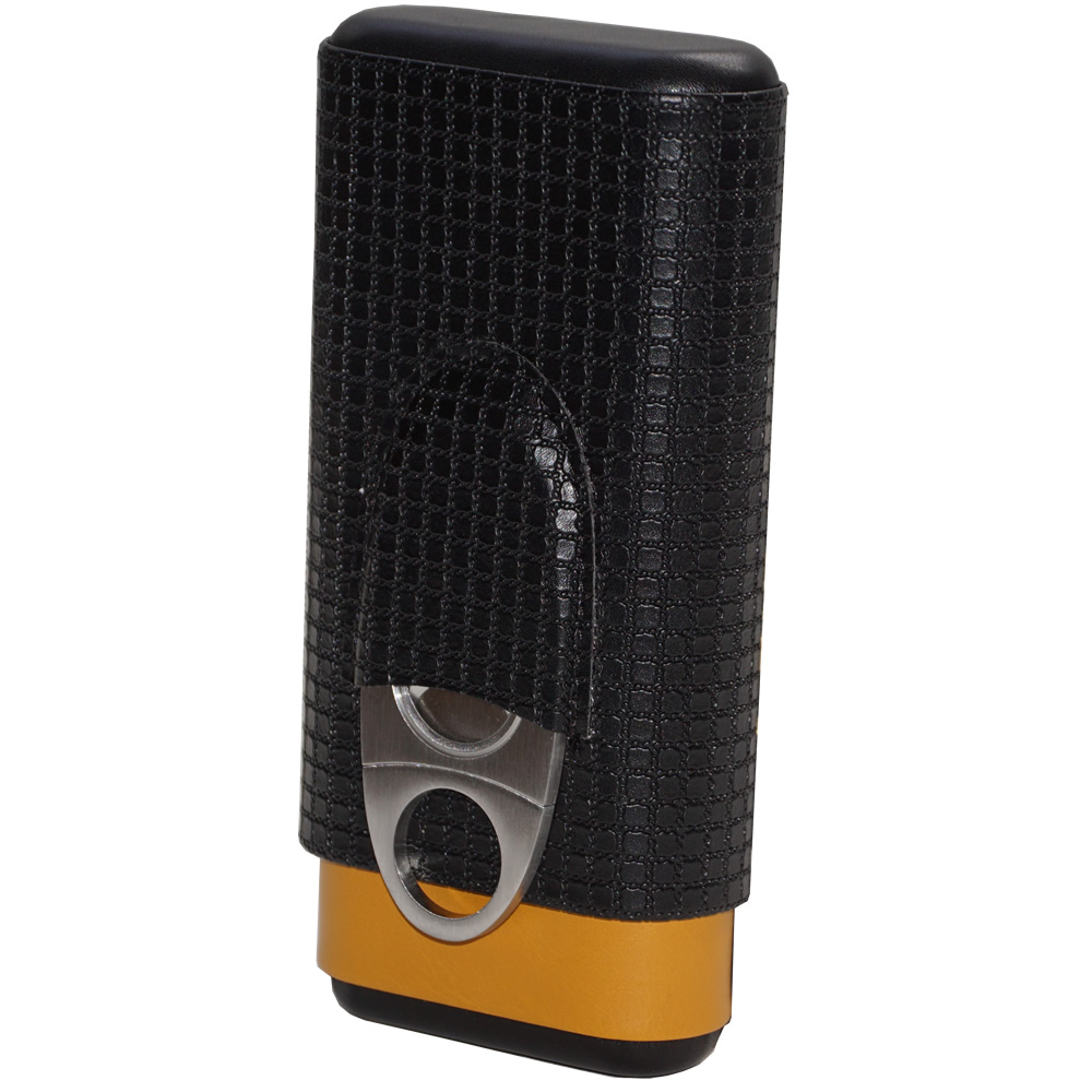 H & H - Black & Yellow Leather Case - 3 Fingers - With Guillotine Cutter